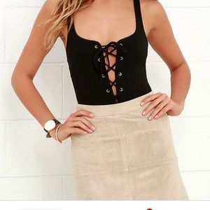 Free People Lace Up Bodysuit
